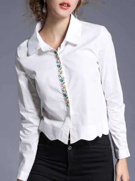 White Casual Asymmetric Shirt Embroidered Blouse