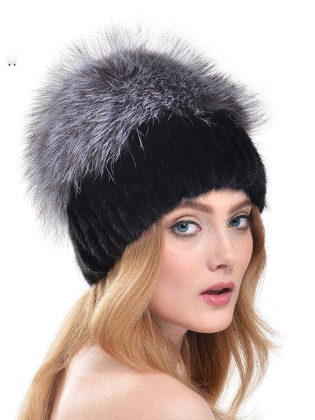 Casual Faux Fur Plain Hat