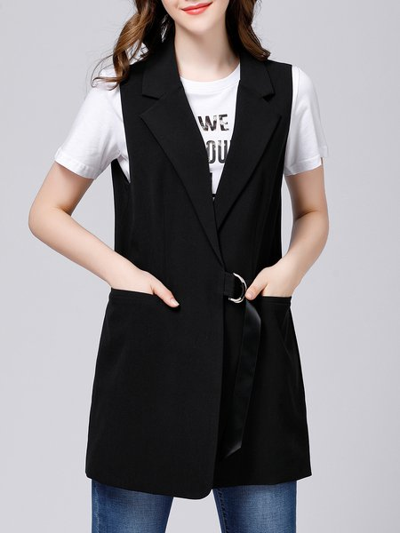 Black Solid Casual H-line Lapel Vests And Gilet