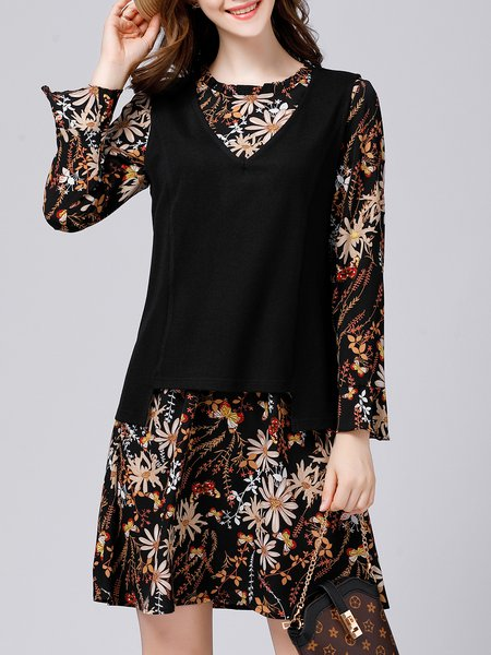 Black Printed Long Sleeve A-line Two Piece Dress With Cami