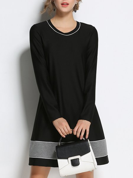 Plus Size Plain Crew Neck A-line Long Sleeve Midi Dress
