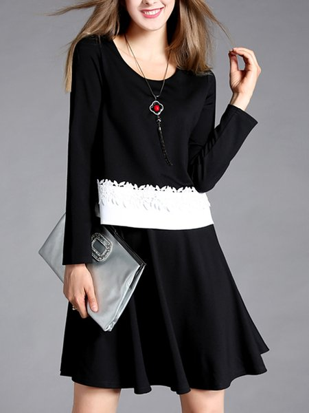 Long Sleeve Crew Neck Paneled Midi Dress