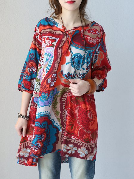 Red Cotton Casual Bateau/boat Neck Linen Top
