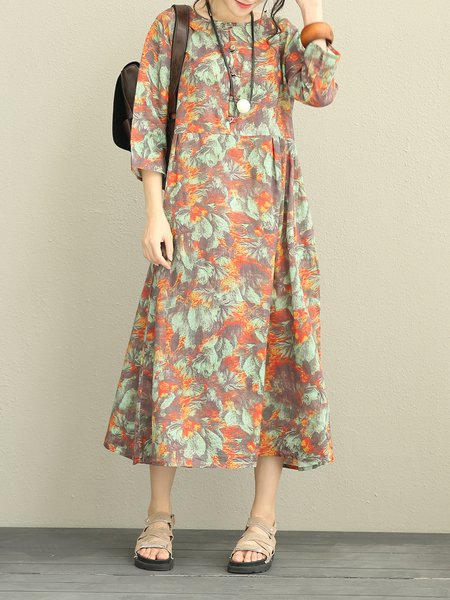 Printed 3/4 Sleeve Crew Neck Casual Shift Linen Dress