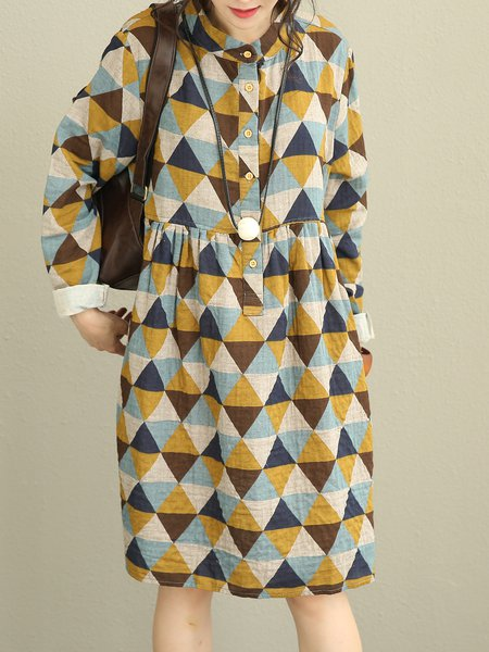 Casual Linen Long Sleeve Geometric Shift Linen Dress
