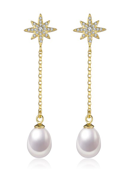 925 Sterling Silver Geometry Pearl Earrings