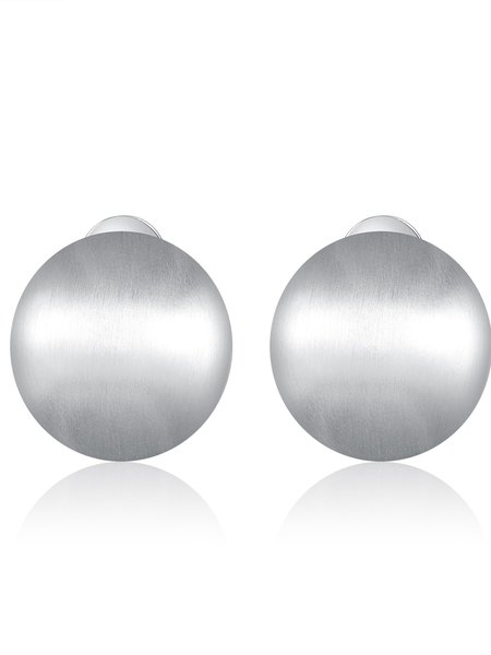 Silver Stainless Steel Round Earrings
