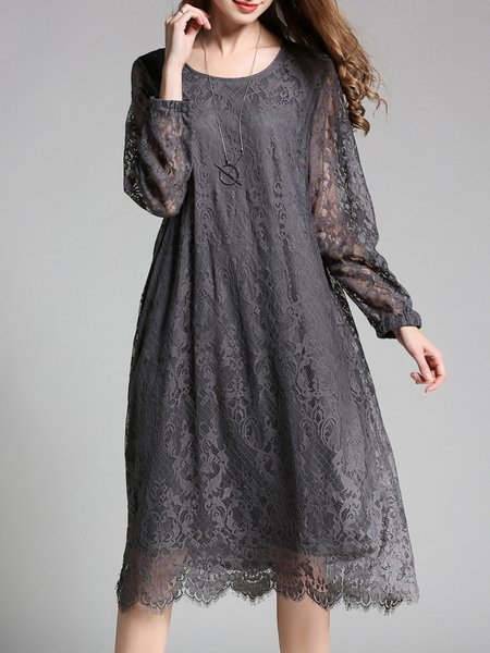 Plus Size Gray Solid Crew Neck Long Sleeve  Lace Midi Dress