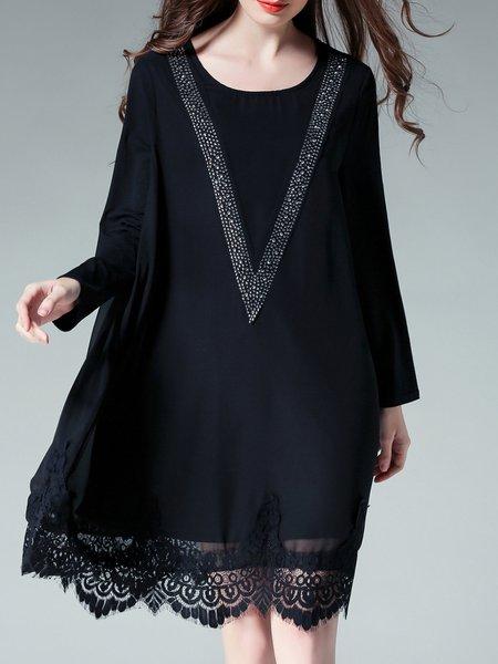 Long Sleeve Shift Casual Crocheted Scoop Neckline Midi Dress