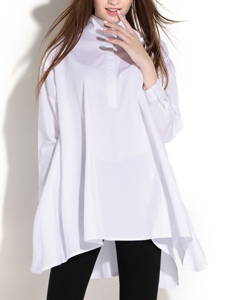 White Asymmetric Stand Collar Casual Solid Loose Blouse