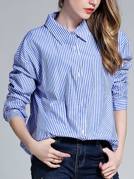 Long Sleeve Stripes Printed Blouse