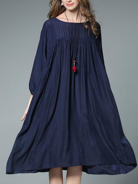 Shift Long Sleeve Casual Bateau/boat Neck Loose Midi Dress