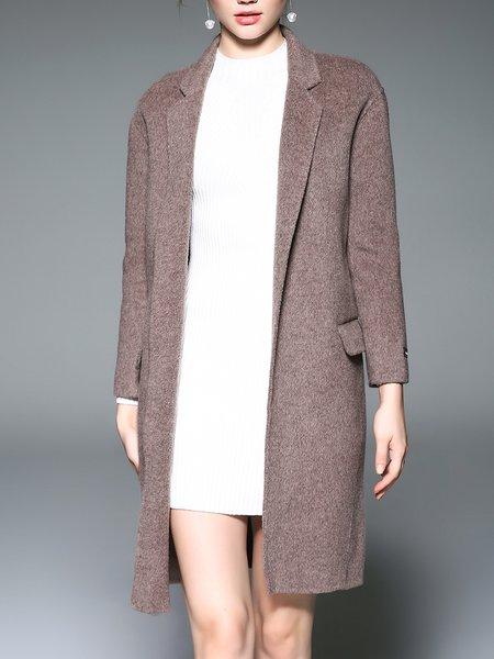 H-line Wool Lapel Long Sleeve Coat