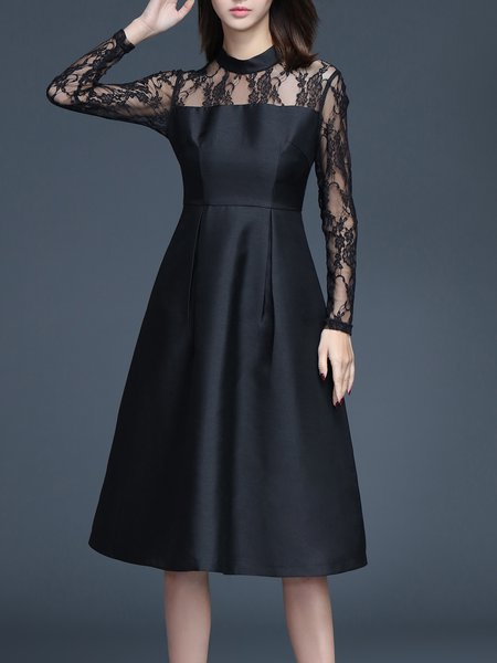 Black Polyester Crew Neck A-line Long Sleeve Midi Dress
