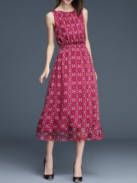 Red Casual Printed A-line Midi Dress