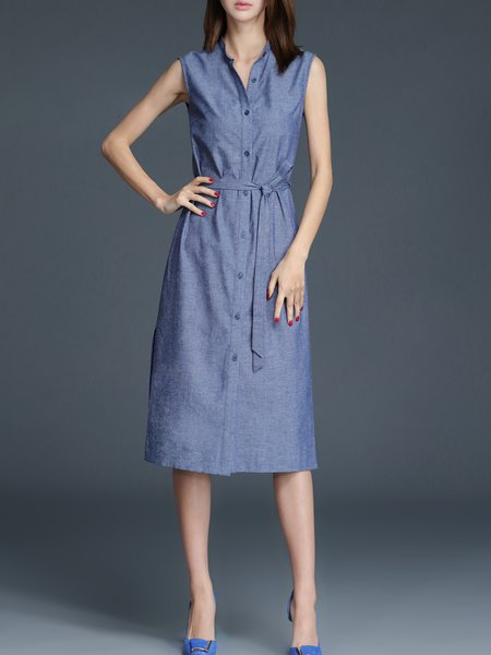 Blue Linen Short Sleeve Plain V Neck Shirt Dress - StyleWe.com