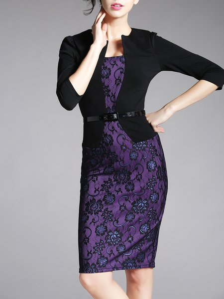 Paneled Elegant Crocheted Sheath 3/4 Sleeve Lace Work Dress