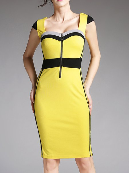 Yellow Elegant Paneled Sweetheart Neckline Sheath Work Dress