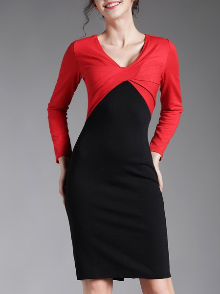 Elegant V Neck Long Sleeve Paneled Midi Dress