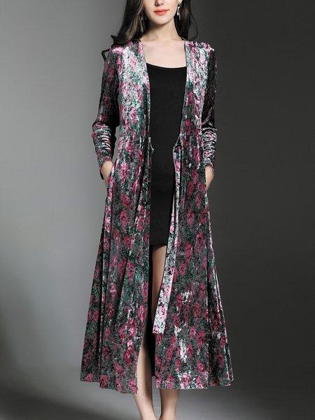 Long Sleeve Velvet Floral Coat