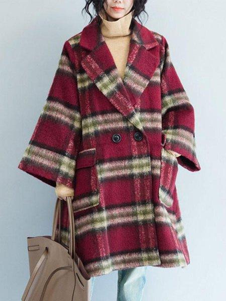 Red Long Sleeve Lapel Linen Outerwear