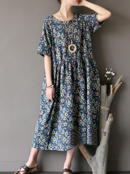 Blue Floral Cotton Short Sleeve Linen Dress