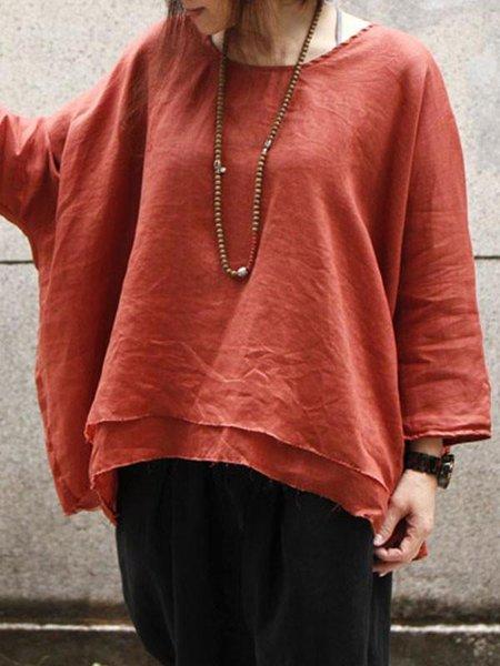 Red Linen Crew Neck Long Sleeve Solid Linen Top