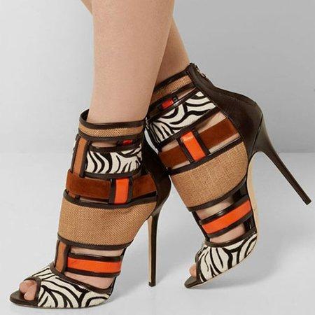 Coffee Stiletto Heel PU Spring/Fall Split Joint Boots