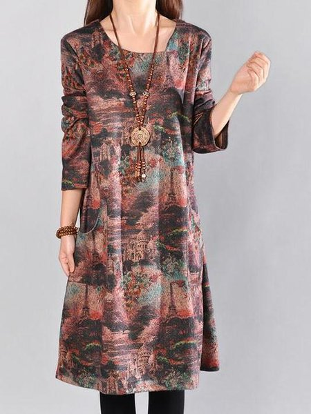 Rust Crew Neck Floral-print Shift Long Sleeve Linen Dress