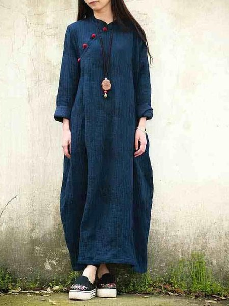 Buttoned Casual Cocoon Long Sleeve LINEN CLOTH