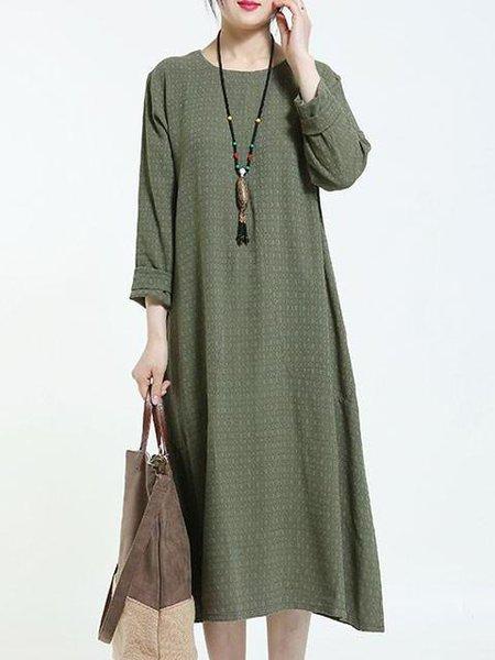 Green Crew Neck Linen Casual Linen Dress