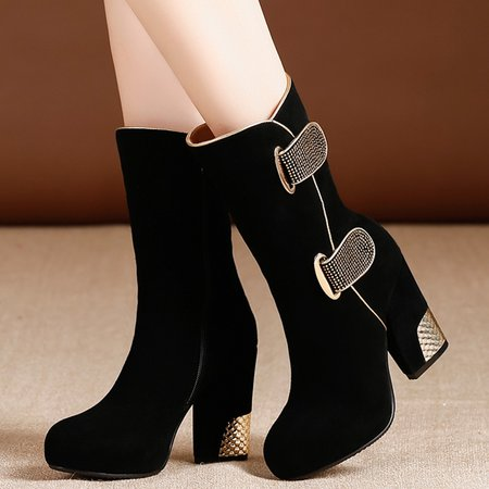 Beading Platform Black Buckle Chunky Heel Suede Boots