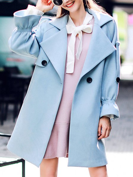 Buttoned Lapel Girly Bell Sleeve Trench Coat