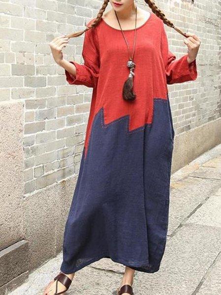 Long Sleeve Casual Color-block Cocoon Linen Dress