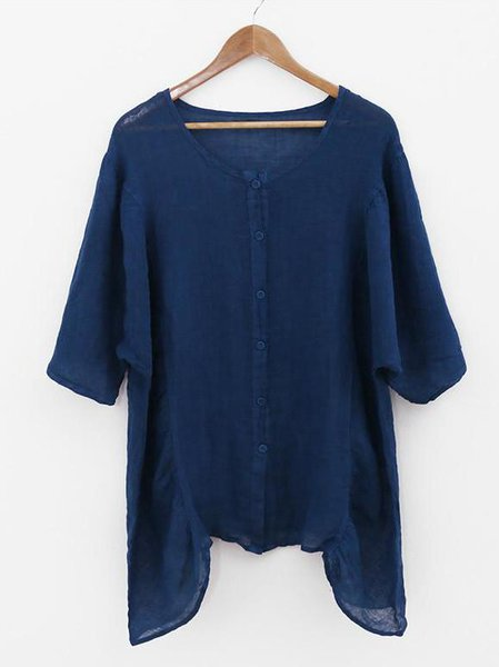 Solid Gathered Batwing Casual Linen Top