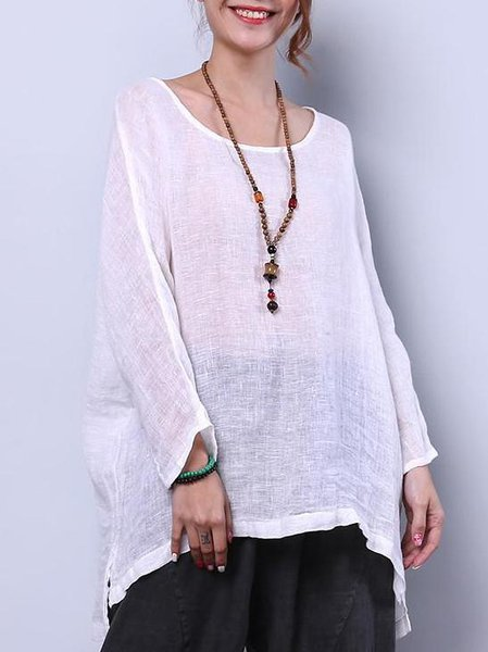 Casual Linen Solid Long Sleeve See-through Look Linen Top