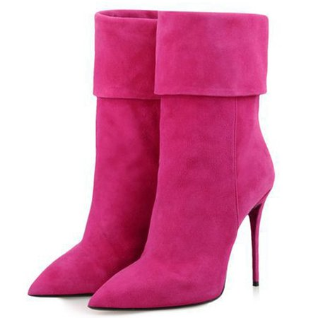 Pink Spring/Fall Suede Stiletto Heel Boots
