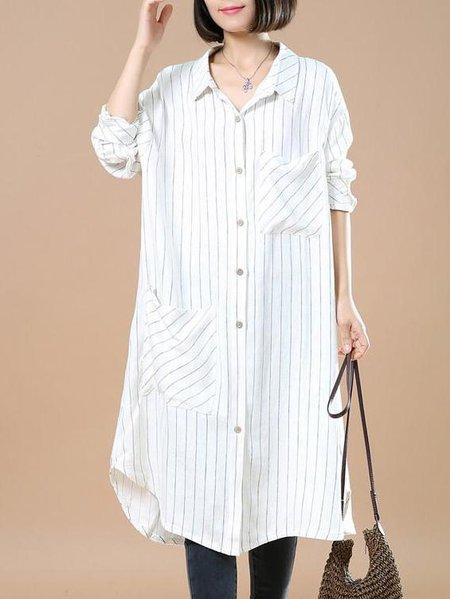 White Stripes Shift Long Sleeve Linen Dress