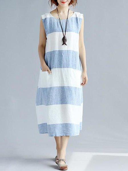 Blue Pockets Casual Linen Linen Dress