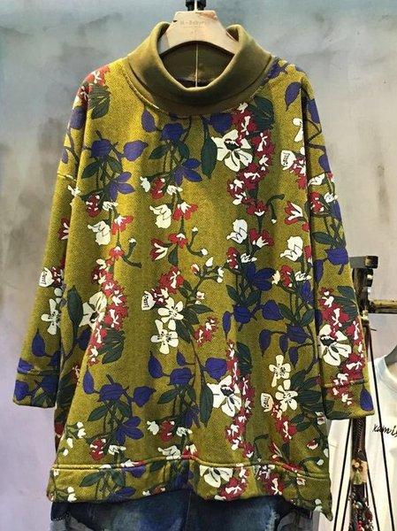 Casual Floral-print Linen Top