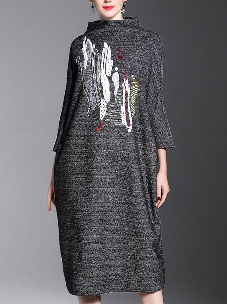 Plus Size Deep Gray Stand Collar 3/4 Sleeve Shift Dress