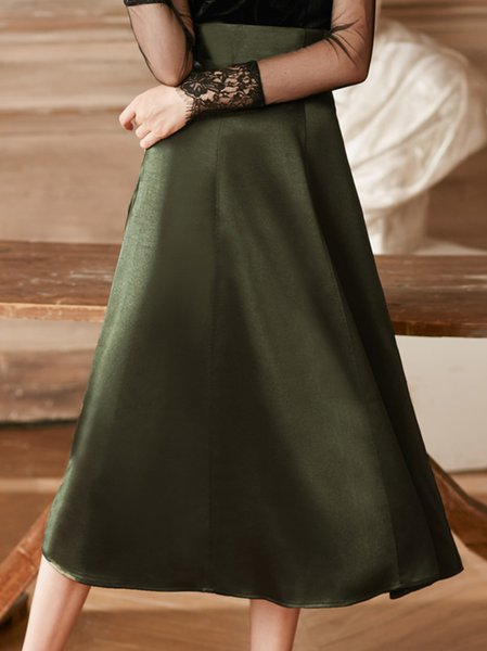Green Casual A-line Midi Skirt