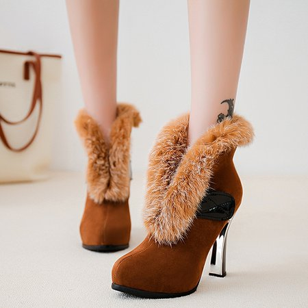 Chunky Heel Casual Suede Winter Fur Boots