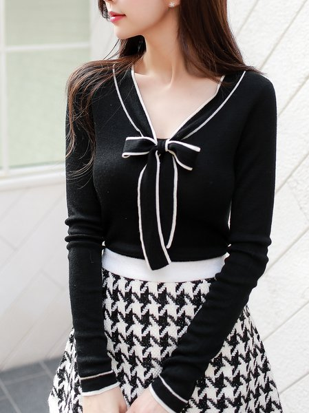 Black Solid Tie-neck Long Sleeve Sweater