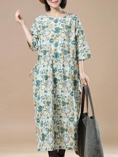 Yellow Printed Casual Linen Dress