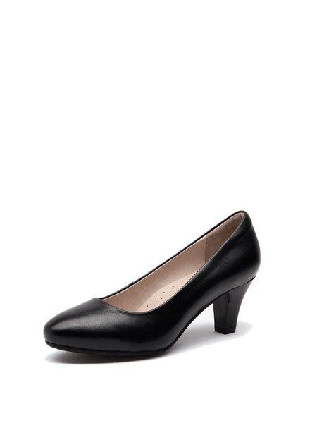 Black Office & Career Low Heel Leather Heels