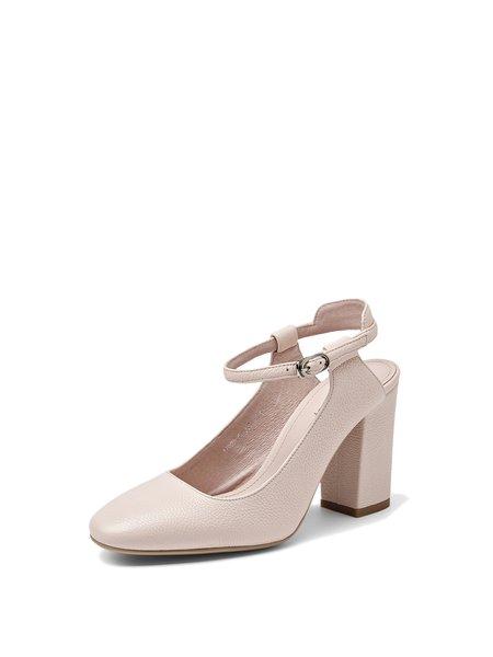 Pink Leather Chunky Heel Buckle Heels