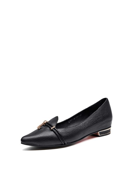 Black Leather Pointed Toe Buckle Casual Flats