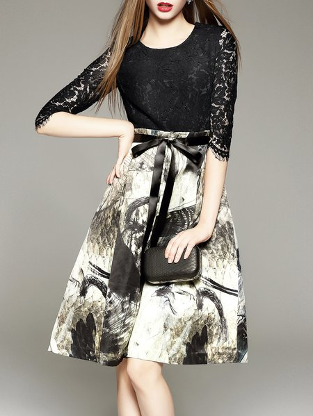 Black Sweet Printed Knee Length Dress
