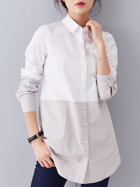 White Pockets Shirt Collar Long Sleeve Cotton Tunic
